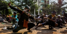 >Myanmar's Protesters Face Down the Military With Slingshots and Rocks